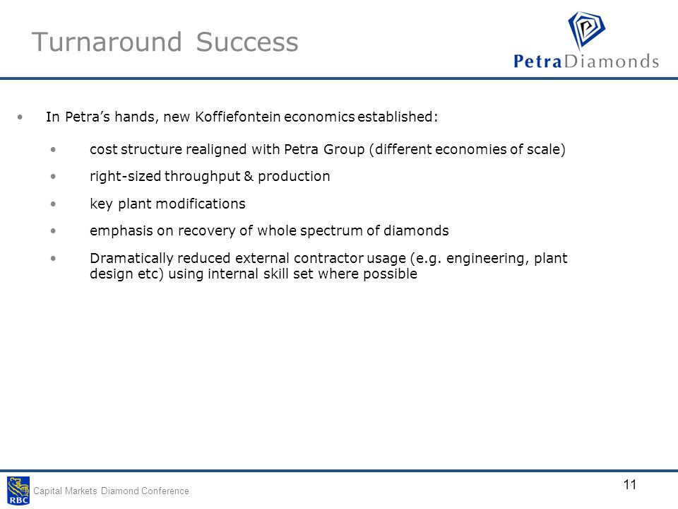 Capital Markets Diamond Conference 11 Turnaround Success In Petra's hands, new Koffiefontein economics established: cost structure realigned with Petra Group (different economies of scale) right-sized throughput & production key plant modifications emphasis on recovery of whole spectrum of diamonds Dramatically reduced external contractor usage (e.g.