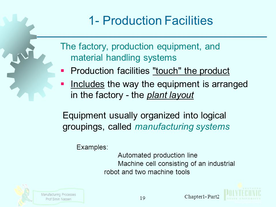 Manufacturing Processes Prof Simin Nasseri 19 Chapter1- Part2 1- Production Facilities The factory, production equipment, and material handling system