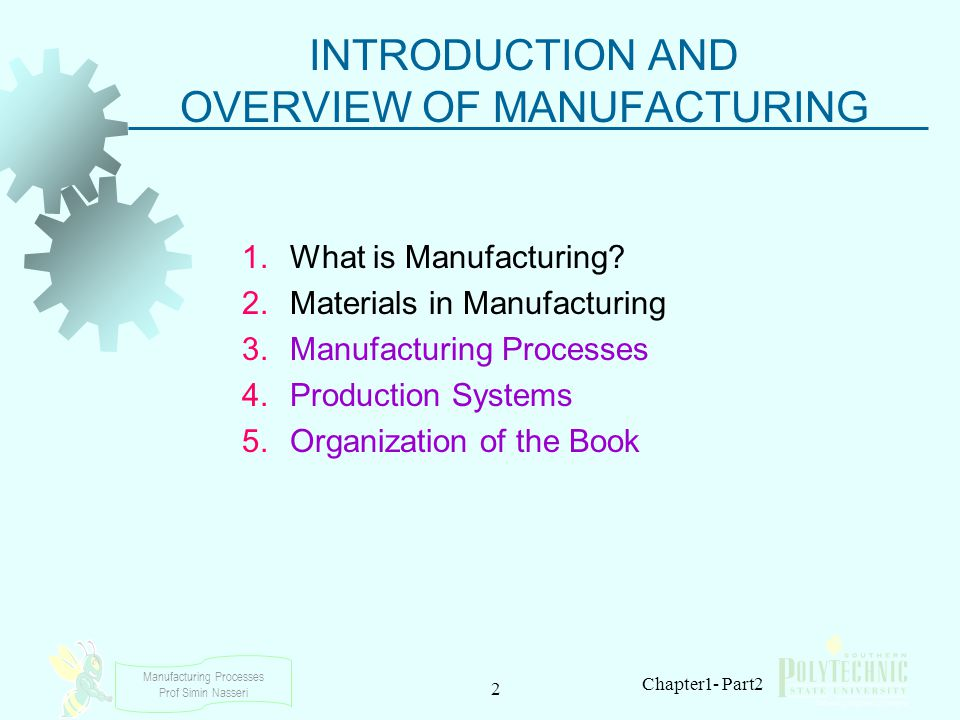 Manufacturing Processes Prof Simin Nasseri 2 Chapter1- Part2 INTRODUCTION AND OVERVIEW OF MANUFACTURING 1.What is Manufacturing? 2.Materials in Manufa