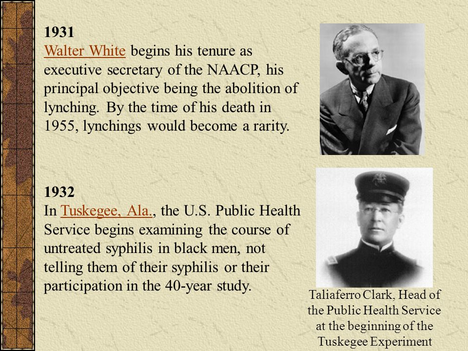 1931 Walter White begins his tenure as executive secretary of the NAACP, his principal objective being the abolition of lynching. By the time of his d