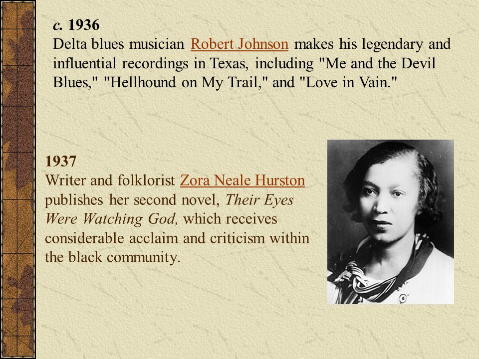c. 1936 Delta blues musician Robert Johnson makes his legendary and influential recordings in Texas, including