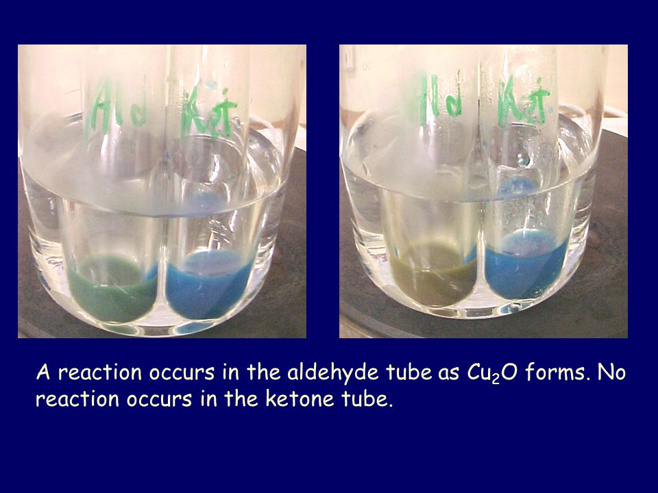 A reaction occurs in the aldehyde tube as Cu 2 O forms. No reaction occurs in the ketone tube.