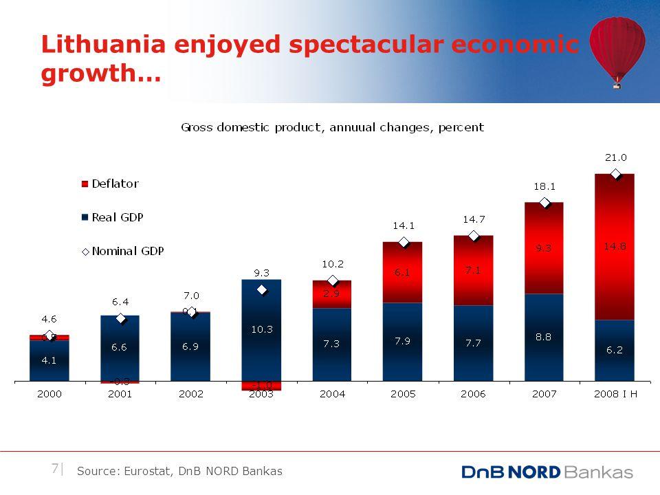 7| Lithuania enjoyed spectacular economic growth… Source: Eurostat, DnB NORD Bankas