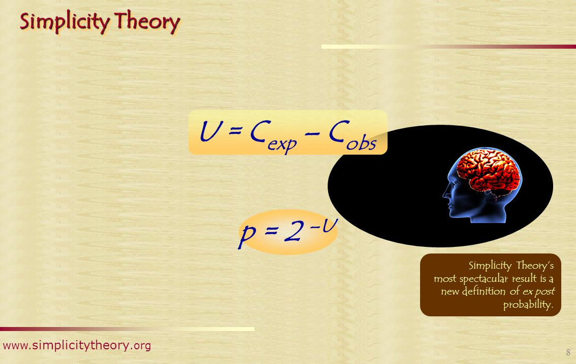 www. simplicitytheory.org 7 Simplicity Theory U = C exp – C obs  Coincidences  Recency  Proximity  Rarity  Extremes  Anomalies U = C(s 1 )  C (