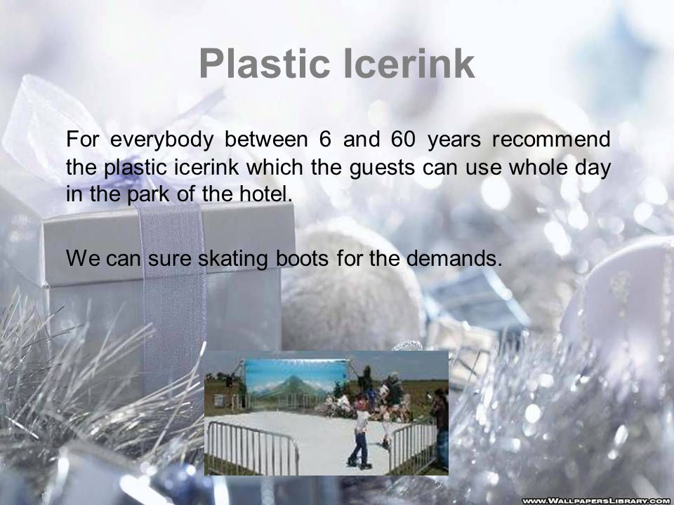 Plastic Icerink For everybody between 6 and 60 years recommend the plastic icerink which the guests can use whole day in the park of the hotel.