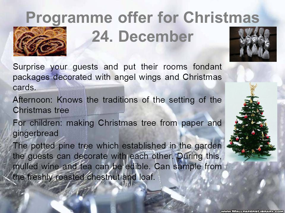 Programme offer for Christmas 24.