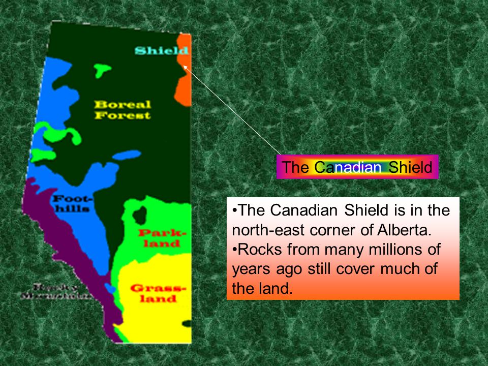 The Canadian Shield The Canadian Shield is in the north-east corner of Alberta.