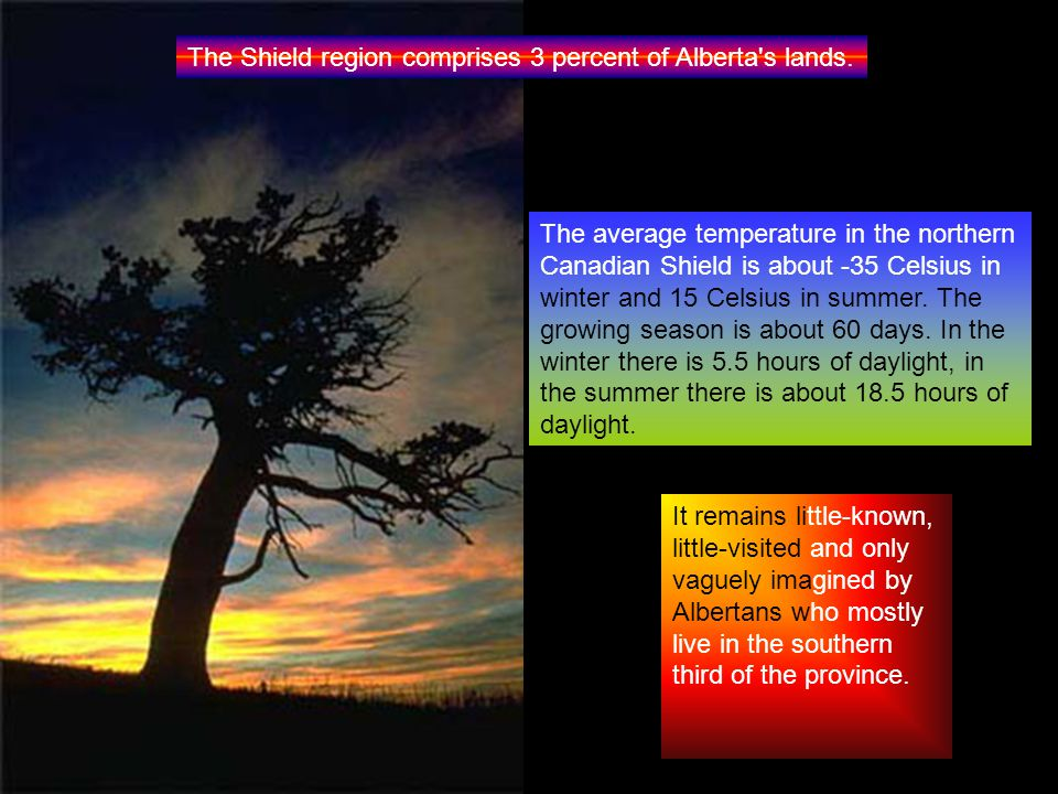 The Shield region comprises 3 percent of Alberta s lands.