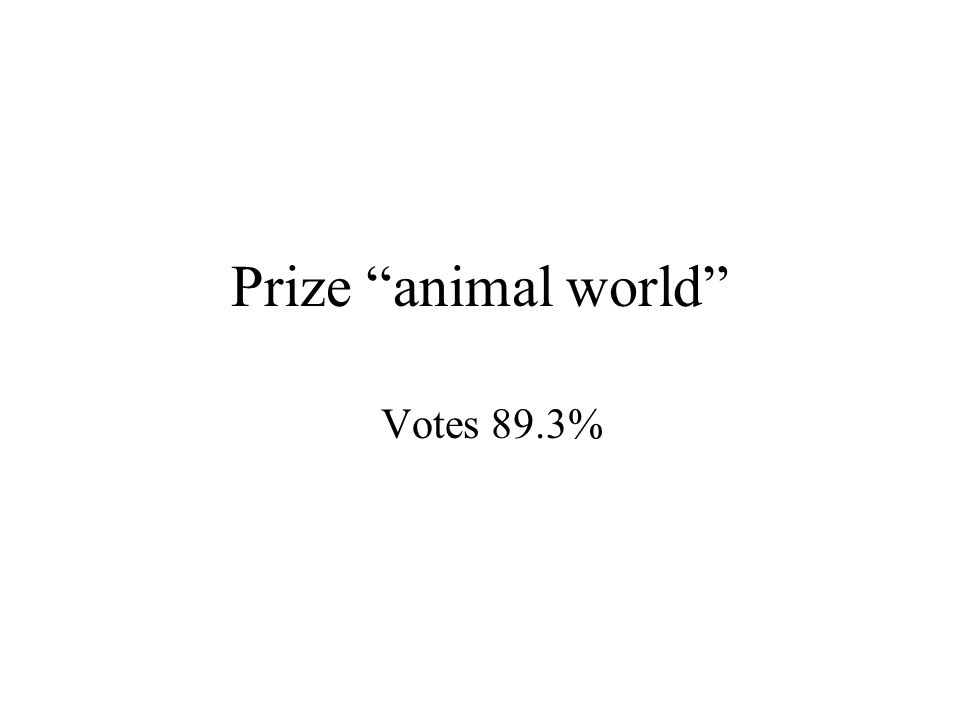 Prize animal world Votes 89.3%