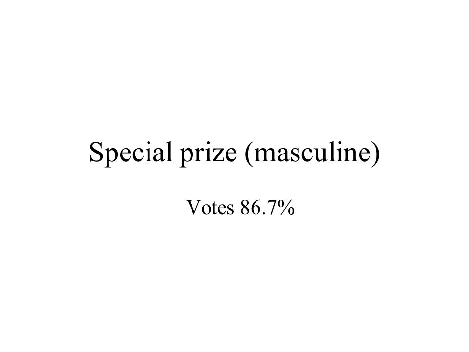 Special prize (masculine) Votes 86.7%