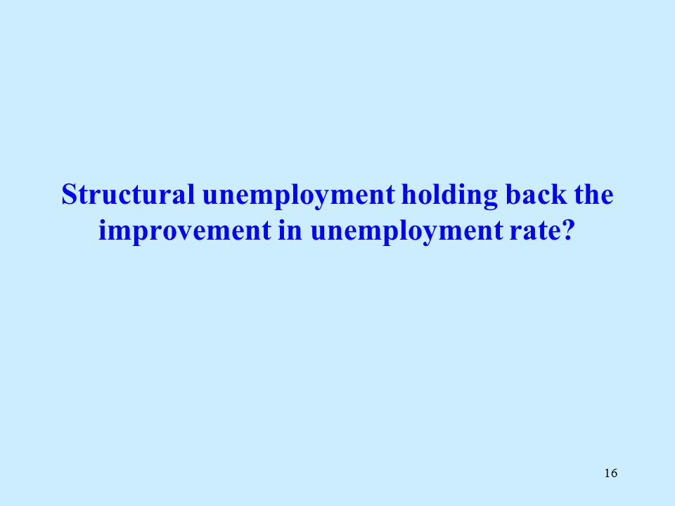 16 Structural unemployment holding back the improvement in unemployment rate?