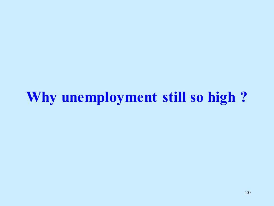 20 Why unemployment still so high ?