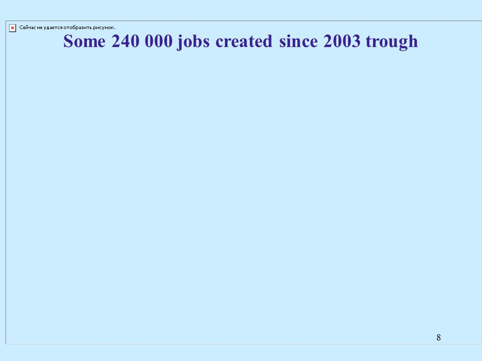 8 Some 240 000 jobs created since 2003 trough