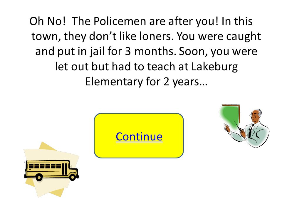 Oh No. The Policemen are after you. In this town, they don't like loners.