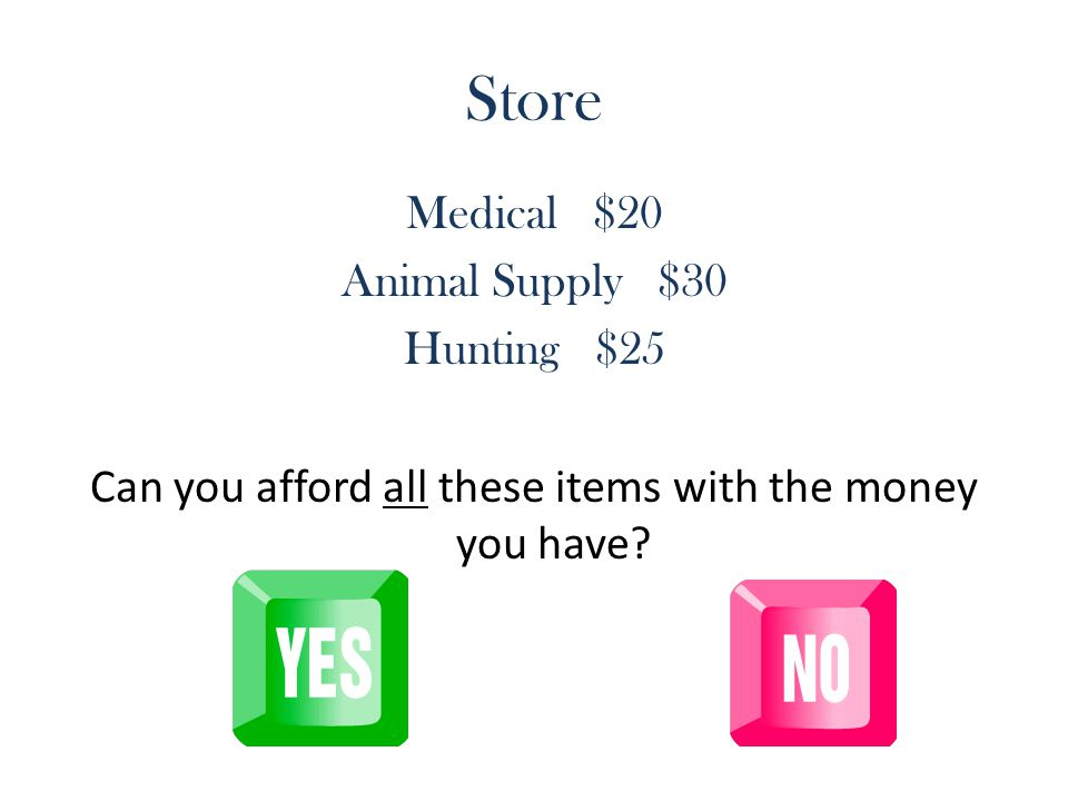 Store Medical $20 Animal Supply $30 Hunting $25 Can you afford all these items with the money you have?