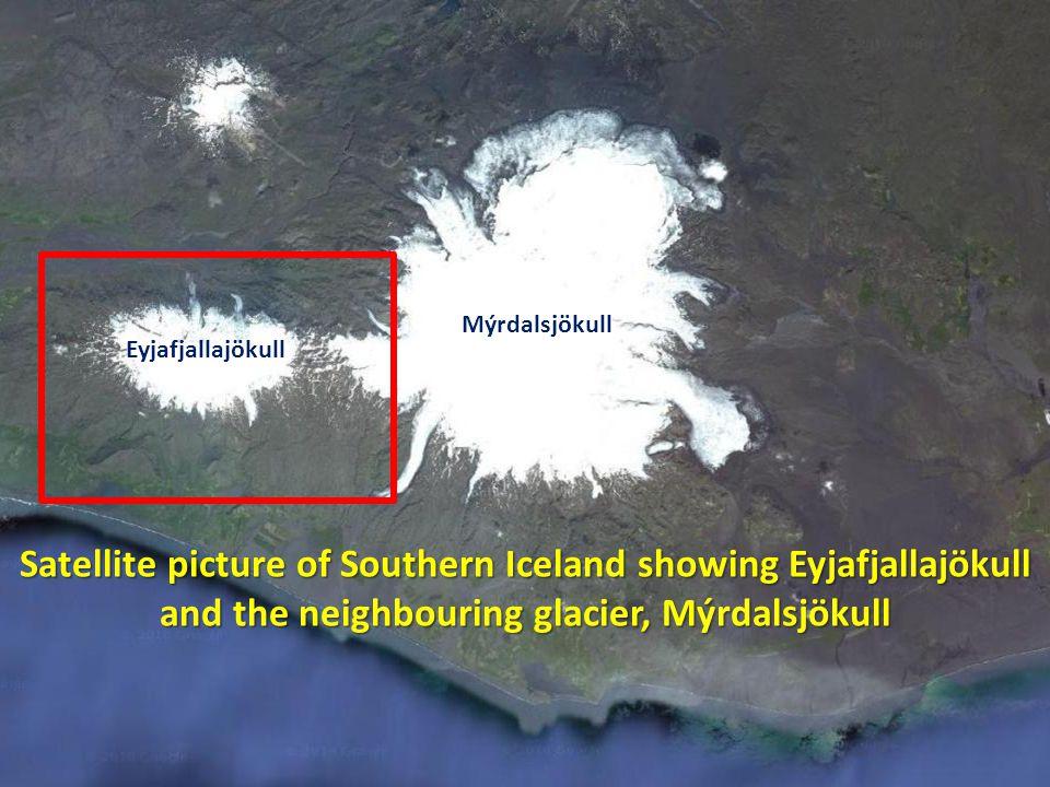 Eyjafjallajökull Mýrdalsjökull Satellite picture of Southern Iceland showing Eyjafjallajökull and the neighbouring glacier, Mýrdalsjökull