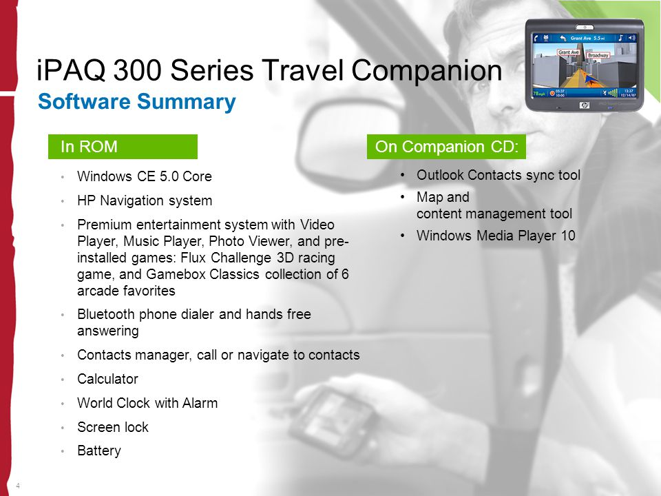 4 iPAQ 300 Series Travel Companion Software Summary In ROM Windows CE 5.0 Core HP Navigation system Premium entertainment system with Video Player, Mu