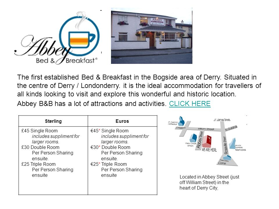 The first established Bed & Breakfast in the Bogside area of Derry.