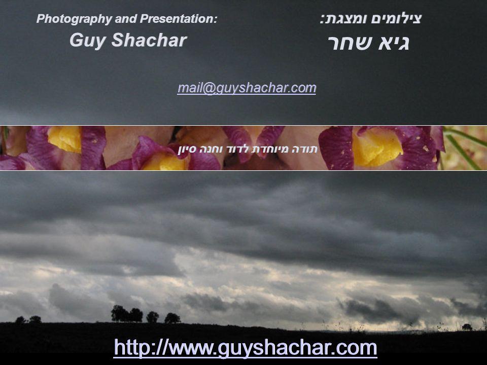 Guy Shachar צילומים ומצגת: http://www.guyshachar.com mail@guyshachar.com תודה מיוחדת לדוד וחנה סיון גיא שחר Photography and Presentation: