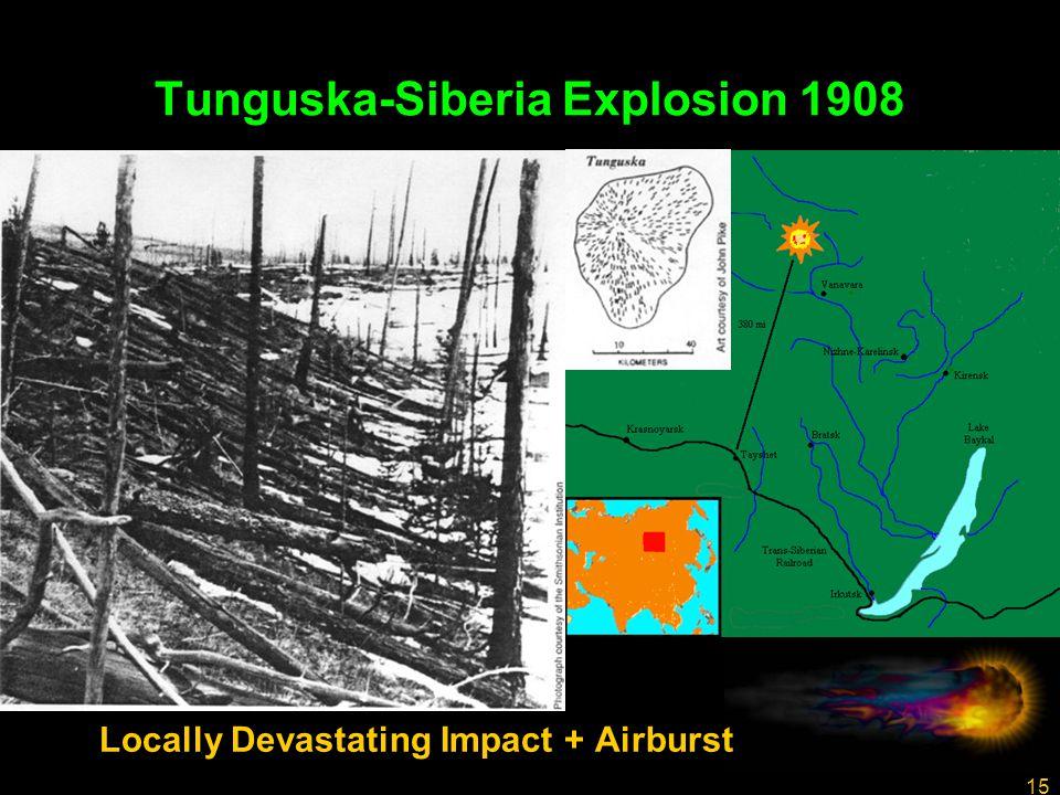 15 Tunguska-Siberia Explosion 1908 Locally Devastating Impact + Airburst