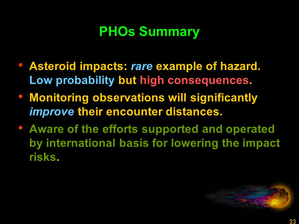 33 PHOs Summary Asteroid impacts: rare example of hazard.