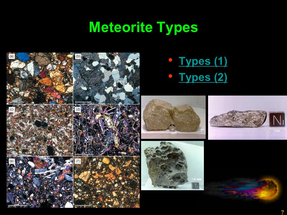 7 Meteorite Types Types (1) Types (2)