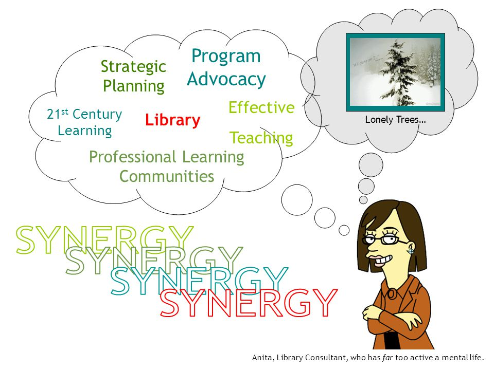 Lonely Trees… Program Advocacy Strategic Planning Professional Learning Communities Effective Teaching 21 st Century Learning Library Anita, Library Consultant, who has far too active a mental life.
