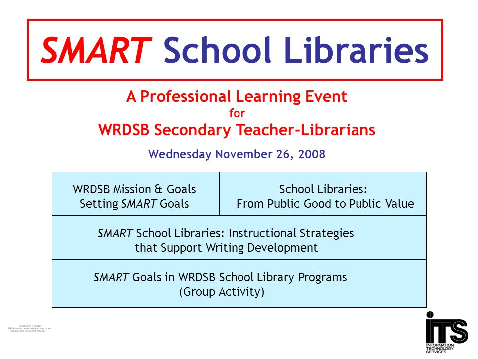 SMART School Libraries A Professional Learning Event for WRDSB Secondary Teacher-Librarians Wednesday November 26, 2008 WRDSB Mission & Goals Setting SMART Goals SMART School Libraries: Instructional Strategies that Support Writing Development School Libraries: From Public Good to Public Value SMART Goals in WRDSB School Library Programs (Group Activity)