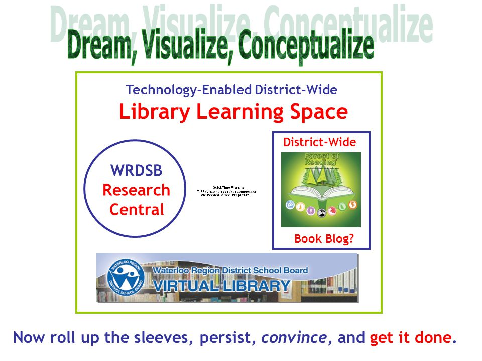Technology-Enabled District-Wide Library Learning Space WRDSB Research Central District-Wide Book Blog? Now roll up the sleeves, persist, convince, an