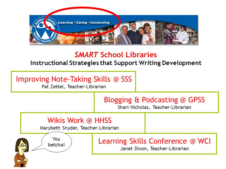 SMART School Libraries Instructional Strategies that Support Writing Development Improving Note-Taking Skills @ SSS Pat Zettel, Teacher-Librarian Blog