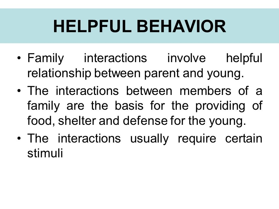 Family interactions involve helpful relationship between parent and young.