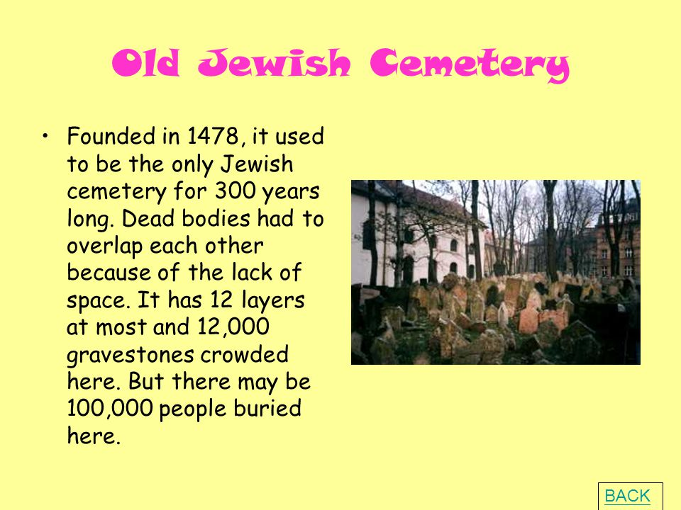 Old Jewish Cemetery Founded in 1478, it used to be the only Jewish cemetery for 300 years long.