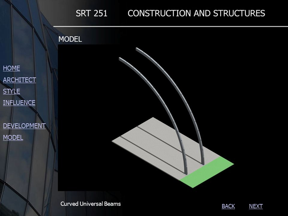 NEXTBACK Curved Universal Beams HOME ARCHITECT STYLE INFLUENCE DEVELOPMENT MODEL