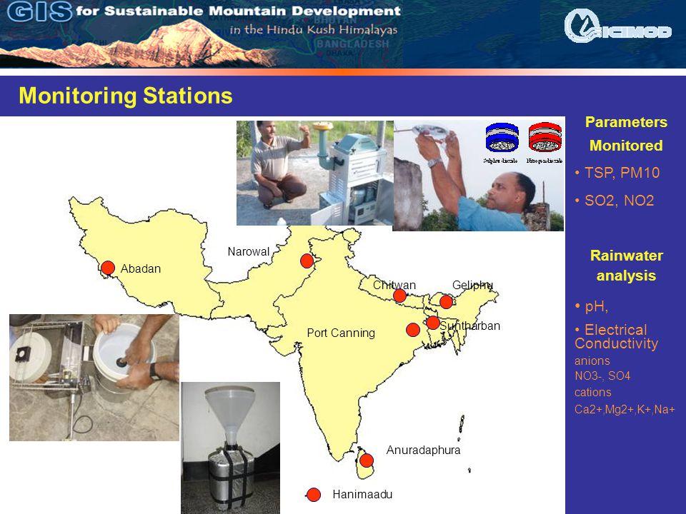 Hanimaadu Anuradaphura Abadan Port Canning Suntharban Geliphu Narowal Chitwan Monitoring Stations Parameters Monitored TSP, PM10 SO2, NO2 Rainwater analysis pH, Electrical Conductivity anions NO3-, SO4 cations Ca2+,Mg2+,K+,Na+