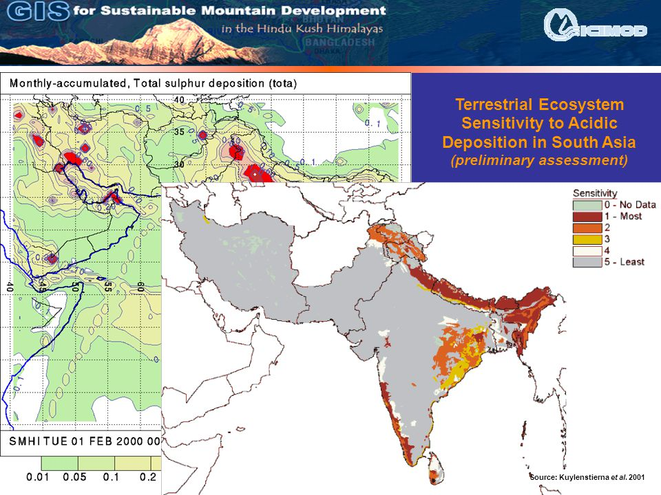 Source: M. Engardt Source: Kuylenstierna et al. 2001 Terrestrial Ecosystem Sensitivity to Acidic Deposition in South Asia (preliminary assessment)