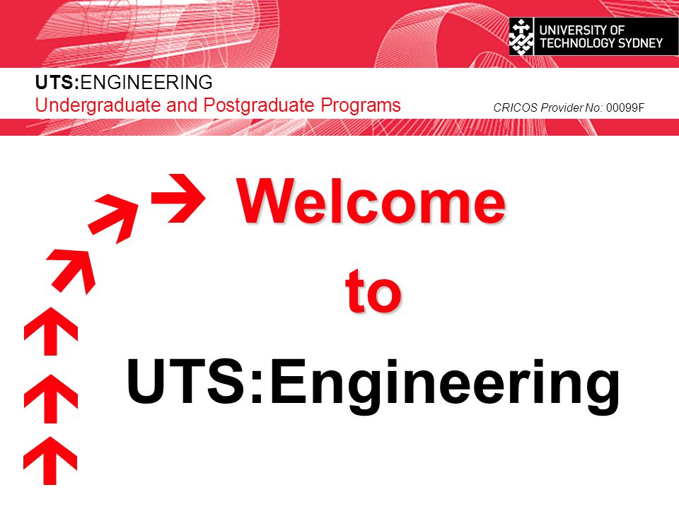 UTS:ENGINEERING CRICOS Provider No: 00099F UTS:Engineering Undergraduate and Postgraduate Programs Welcome to