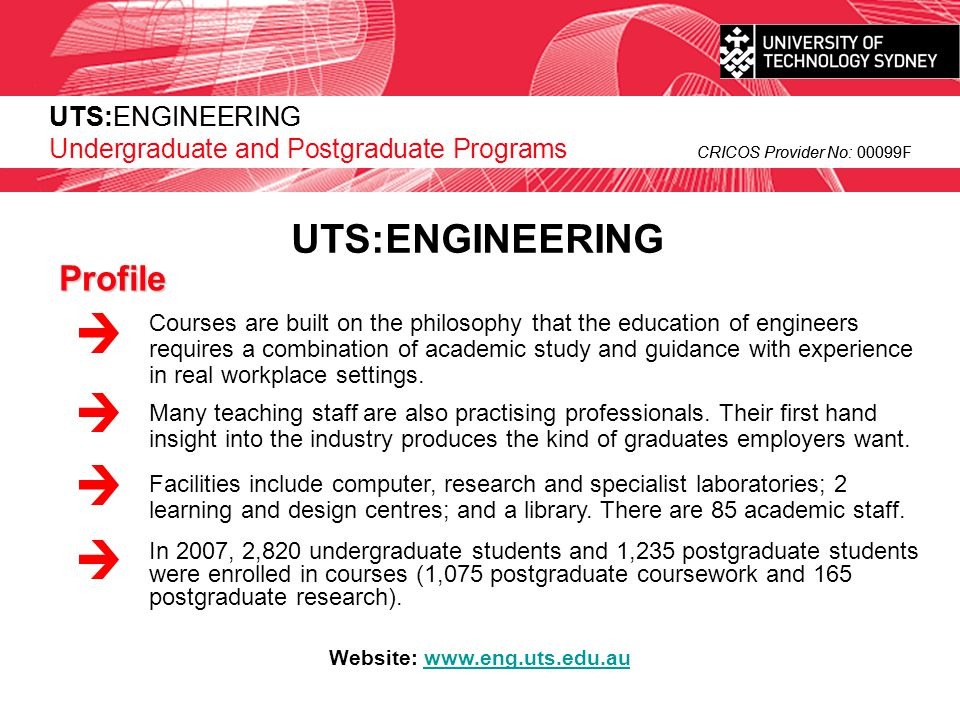 UTS:ENGINEERING CRICOS Provider No: 00099F Master of Engineering Management (MEM) 1 year full time - 8 subjects If you are a recently graduated engineer seeking a career in engineering management and who aspires to perform management tasks while maintaining currency in their technical specialities, this program will provide you with an opportunity to pursue further studies that place greater emphasis on the interface between technology and management.
