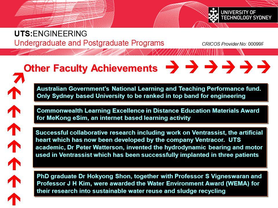 UTS:ENGINEERING CRICOS Provider No: 00099F UTS:ENGINEERING Undergraduate Programs CRICOS Provider No: 00099F Undergraduate Programs
