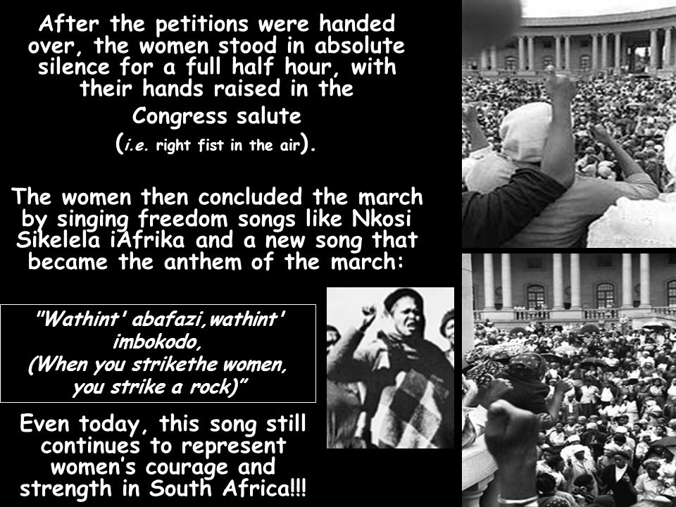 Four women (Sophie Williams, Helen Joseph, Lillian Ngoyi & Rahima Moosa) who led the August 9 th 1956 march, delivered petitions containing more than