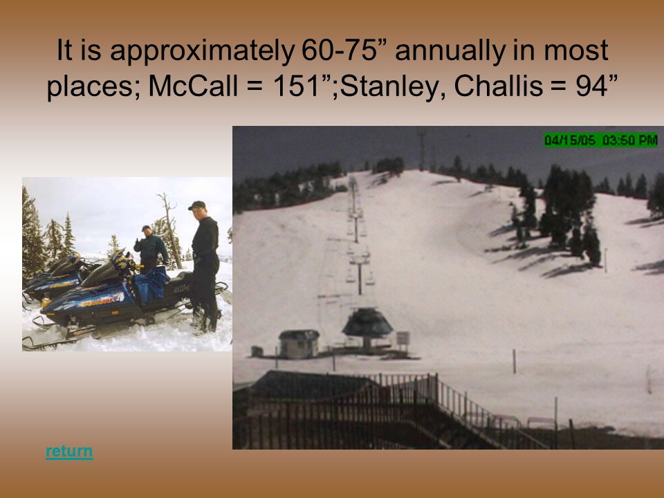 It is approximately 60-75 annually in most places; McCall = 151 ;Stanley, Challis = 94 return