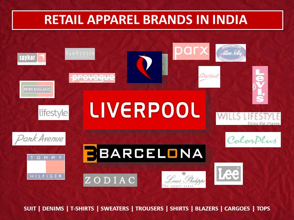 Manufacturing Own / Outsource Branding of the Product Distribute through own Brand Stores / Retail Outlet Reinvestment of Process Procurement of Raw Material SUIT | DENIMS | T-SHIRTS | SWEATERS | TROUSERS | SHIRTS | BLAZERS | CARGOES | TOPS DISTRIBUTION PROCESS Channel Partners