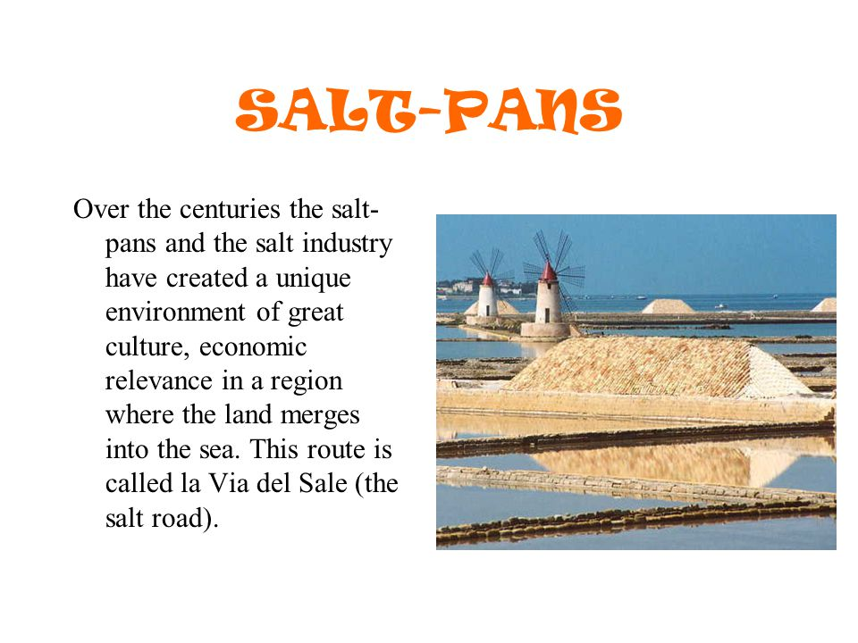 SALT-PANS Over the centuries the salt- pans and the salt industry have created a unique environment of great culture, economic relevance in a region where the land merges into the sea.