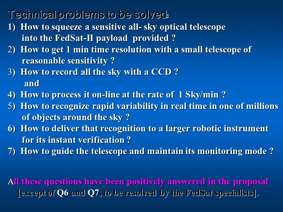 Technical problems to be solved : 1) How to squeeze a sensitive all- sky optical telescope into the FedSat-II payload provided .