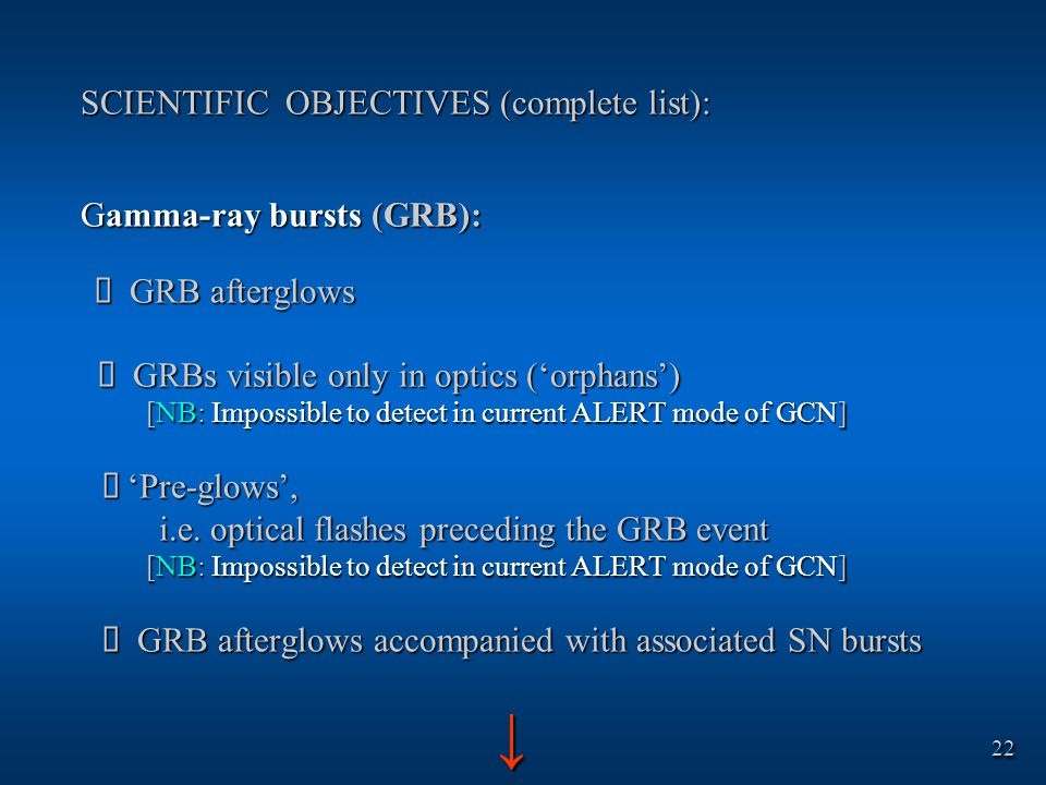 SCIENTIFIC OBJECTIVES (complete list): Gamma-ray bursts (GRB):  GRB afterglows  GRBs visible only in optics ('orphans') [NB: Impossible to detect in current ALERT mode of GCN]  'Pre-glows', i.e.