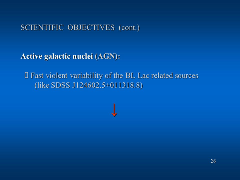 SCIENTIFIC OBJECTIVES (cont.) Active galactic nuclei (AGN):  Fast violent variability of the BL Lac related sources (like SDSS J124602.5+011318.8) ↓ 26