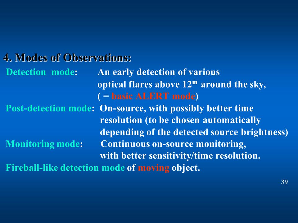 4. Modes of Observations: 4.