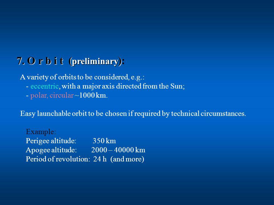 7. O r b i t ( preliminary ) 7.
