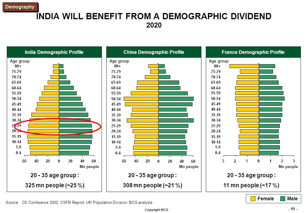 - 11 - Copyright BCG INDIA WILL BENEFIT FROM A DEMOGRAPHIC DIVIDEND 2020 India Demographic ProfileChina Demographic ProfileFrance Demographic Profile Mn people Age group Female Male Mn people Age group Mn people Age group 204060204060123 Source:CII Conference 2002; CSFB Report; UN Population Division; BCG analysis 20 - 35 age group : 325 mn people (~25 %) 20 - 35 age group : 308 mn people (~21 %) 20 - 35 age group : 11 mn people (~17 %) DemographyDemography