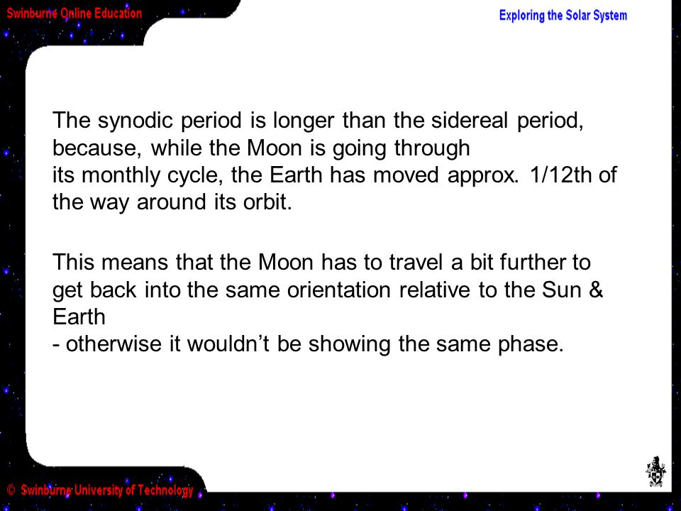 This means that the Moon has to travel a bit further to get back into the same orientation relative to the Sun & Earth - otherwise it wouldn't be showing the same phase.