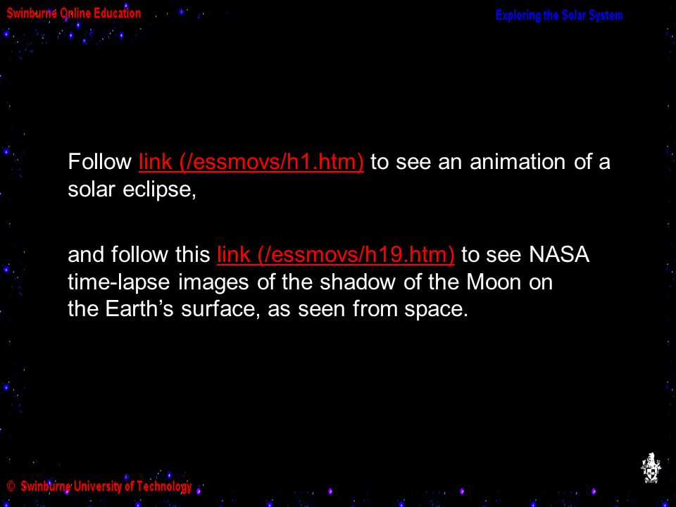 Follow link (/essmovs/h1.htm) to see an animation of a solar eclipse,link (/essmovs/h1.htm) And follow this link to see a and follow this link (/essmovs/h19.htm) to see NASA time-lapse images of the shadow of the Moon on the Earth's surface, as seen from space.link (/essmovs/h19.htm)